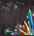 Chalkboard school background with colorful pencils vector image