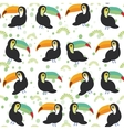 Cute Cartoon toucan birds set on white background vector image