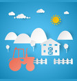 agricultural farm with tractor and rural landscape vector image
