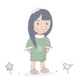 happy girl character cartoon style vector image