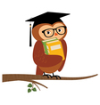 Academic owl holding a book sitting on a branch vector image