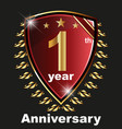 anniversary 1 th label with ribbon vector image vector image