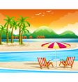 Beach scene with chairs and umbrella vector image vector image