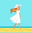 beatuful woman in a white dress and beach hat vector image