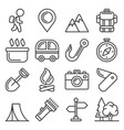 camping icons set on white background line style vector image