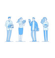 college students young boys and girls standing vector image vector image