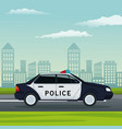 color background city landscape with police car vector image vector image