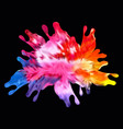 colored paint splashes on black background vector image vector image