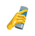 colorful icon of human hand in protective glove vector image vector image