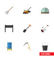 flat icon farm set of grass-cutter hothouse lawn vector image vector image