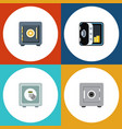 flat icon safe set of saving safe locked and vector image vector image