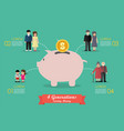 four generations saving money infographic vector image vector image