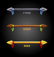 gold wooden stone spears with a ribbon for the vector image