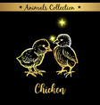 golden and royal hand drawn emblem of farm chicken vector image