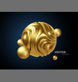 golden metal organic shape 3d sphere background vector image