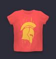 grunge spartan helmet in profile t-shirt vector image vector image