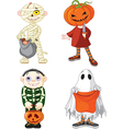 Halloween trick or treating children vector image vector image