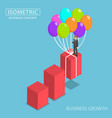 isometric businessman grow up graph balloon vector image vector image