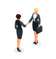 isometric businessmen shake hands vector image vector image