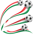 italian flag set with soccer ball vector image vector image