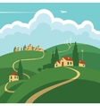 landscape with hills roads and settlements vector image vector image