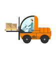 loading warehouse forklift truck isolated icon vector image vector image