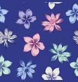 lotus plumeria seamless blue background vector image