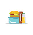 lunchbox - meal container with hamburger vector image
