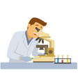 male scientist with microscope and flasks with vector image vector image