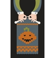 Man is knitting pumpkin vector image vector image