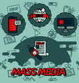 mass media flat concept icons vector image