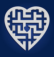 maze in heart shape gray labyrinth on blue vector image vector image