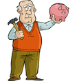 Old man with piggy bank vector image vector image