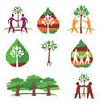 People and trees colorful icons vector image vector image