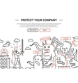 Protect Your Company - line design website banner vector image vector image