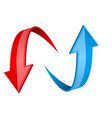 red and blue 3d arrows up and down signs vector image