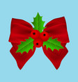 red christmas bow with holly on ribbon vector image vector image