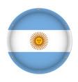round metallic flag of argentina with screws vector image