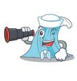 sailor with binocular cartoon blue wave surf vector image