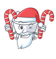 santa with candy mortar mascot cartoon style vector image vector image