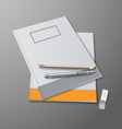 School notebooks with pencils and eraser template vector image vector image