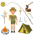 scout boy with hand honor sign near camp equipment vector image
