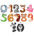 set cute animals number vector image