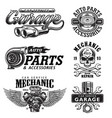 set of vintage monochrome car repair emblems vector image vector image