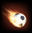 soccer ball on fire isolated on a black vector image vector image