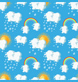 summer weather seamless pattern with sun clouds vector image