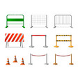 temporary fencing barrier realistic icon set vector image