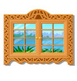 wooden window overlooking forest in vector image vector image