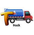 A letter T for truck vector image vector image