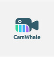 abstract camera whale logo icon template vector image